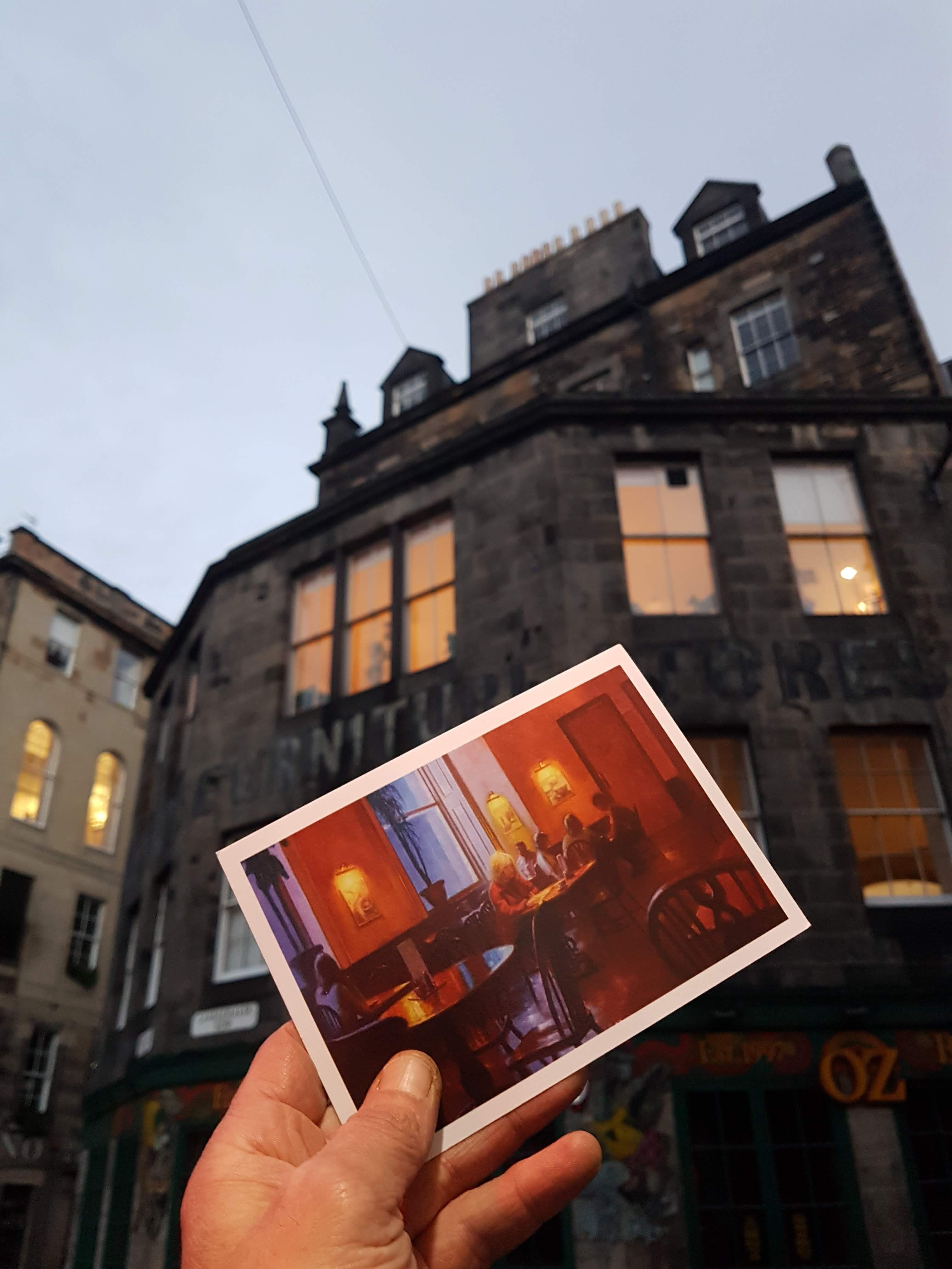 j k rowling's window overlooking candlemaker row. Postcard of elephant house
